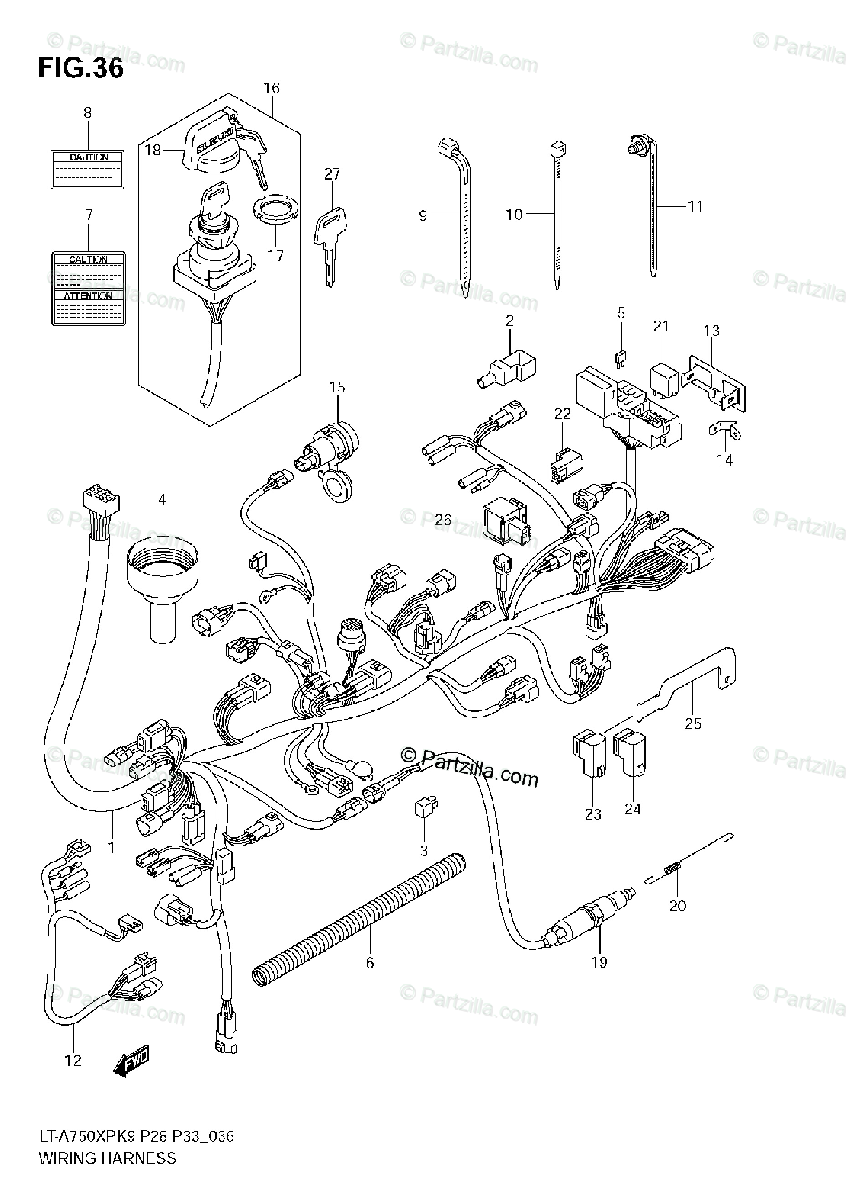 Suzuki ATV 2009 OEM Parts Diagram for WIRING HARNESS