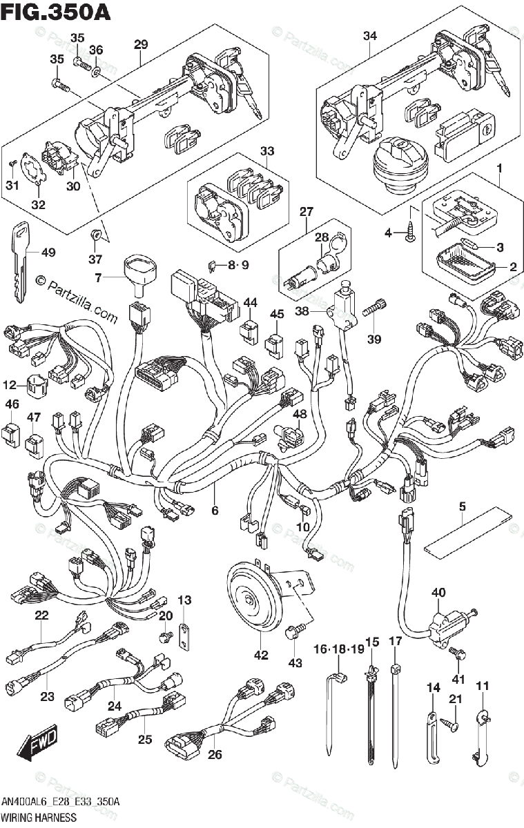 Suzuki Scooters 2016 OEM Parts Diagram for WIRING HARNESS