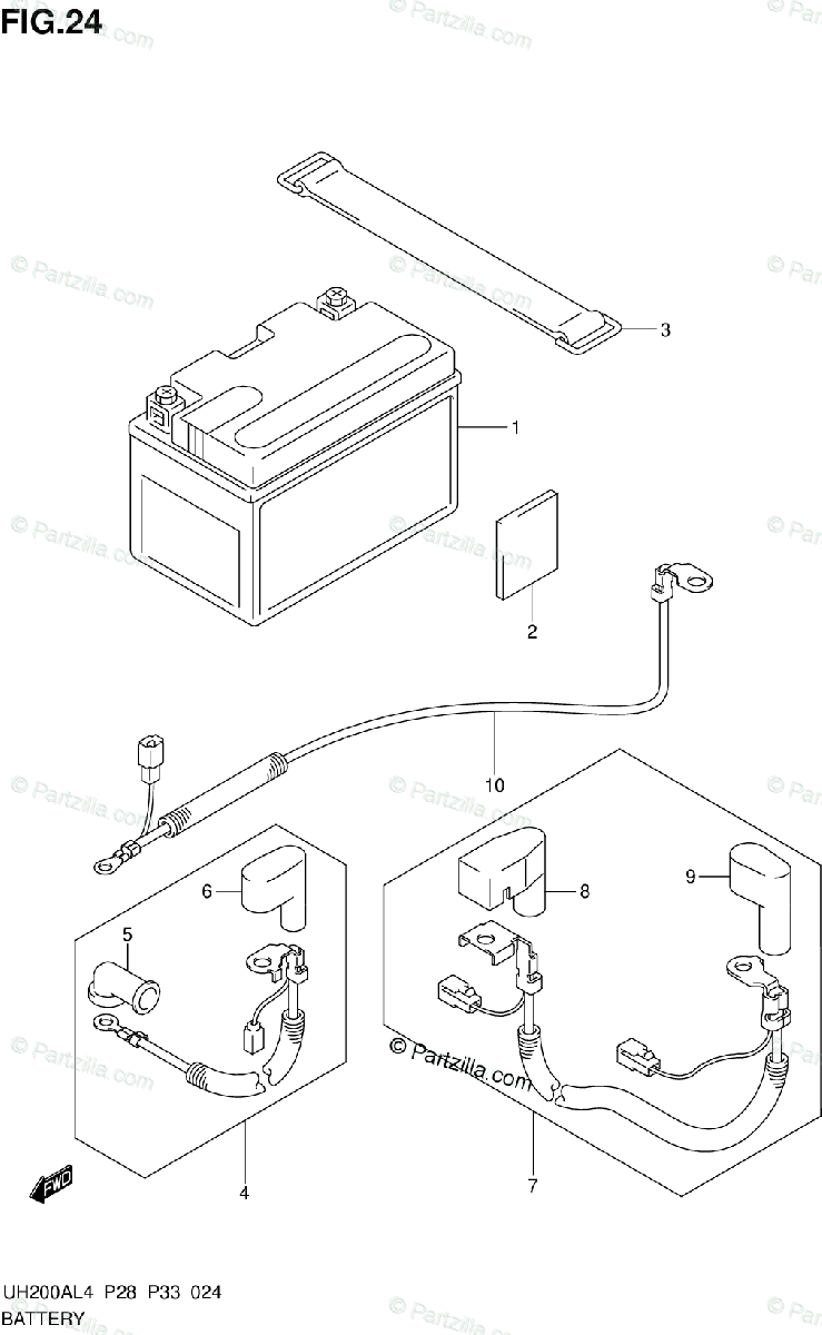 Suzuki Scooters 2014 OEM Parts Diagram for BATTERY