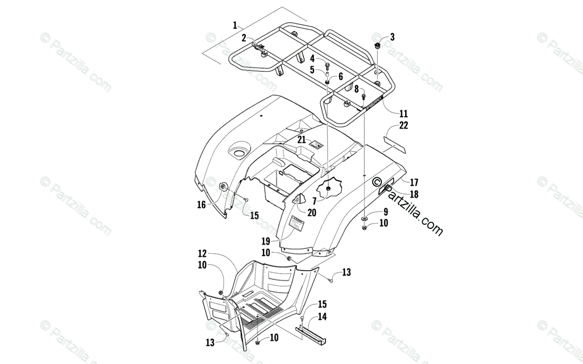Arctic Cat ATV 2010 OEM Parts Diagram for Rear Rack, Body