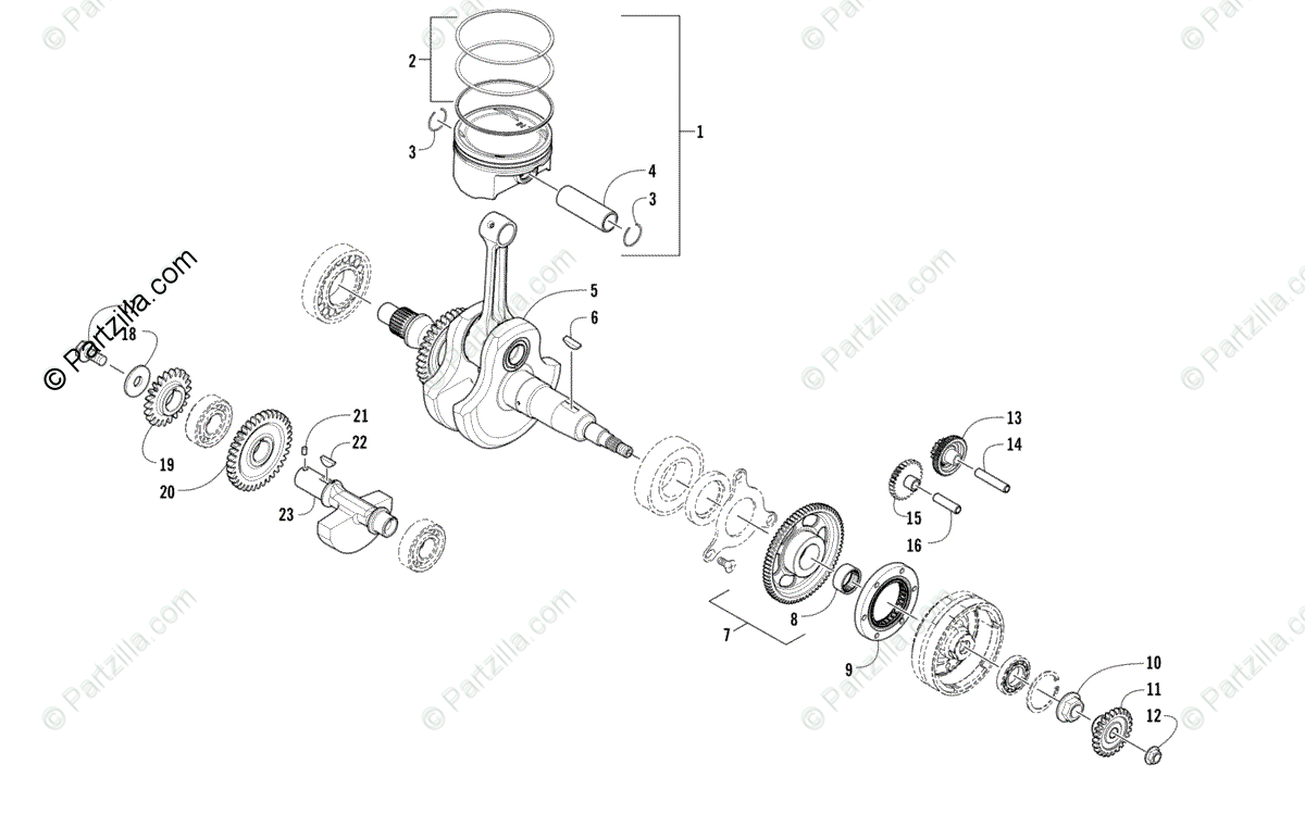 Arctic Cat ATV 2010 OEM Parts Diagram for Crankshaft