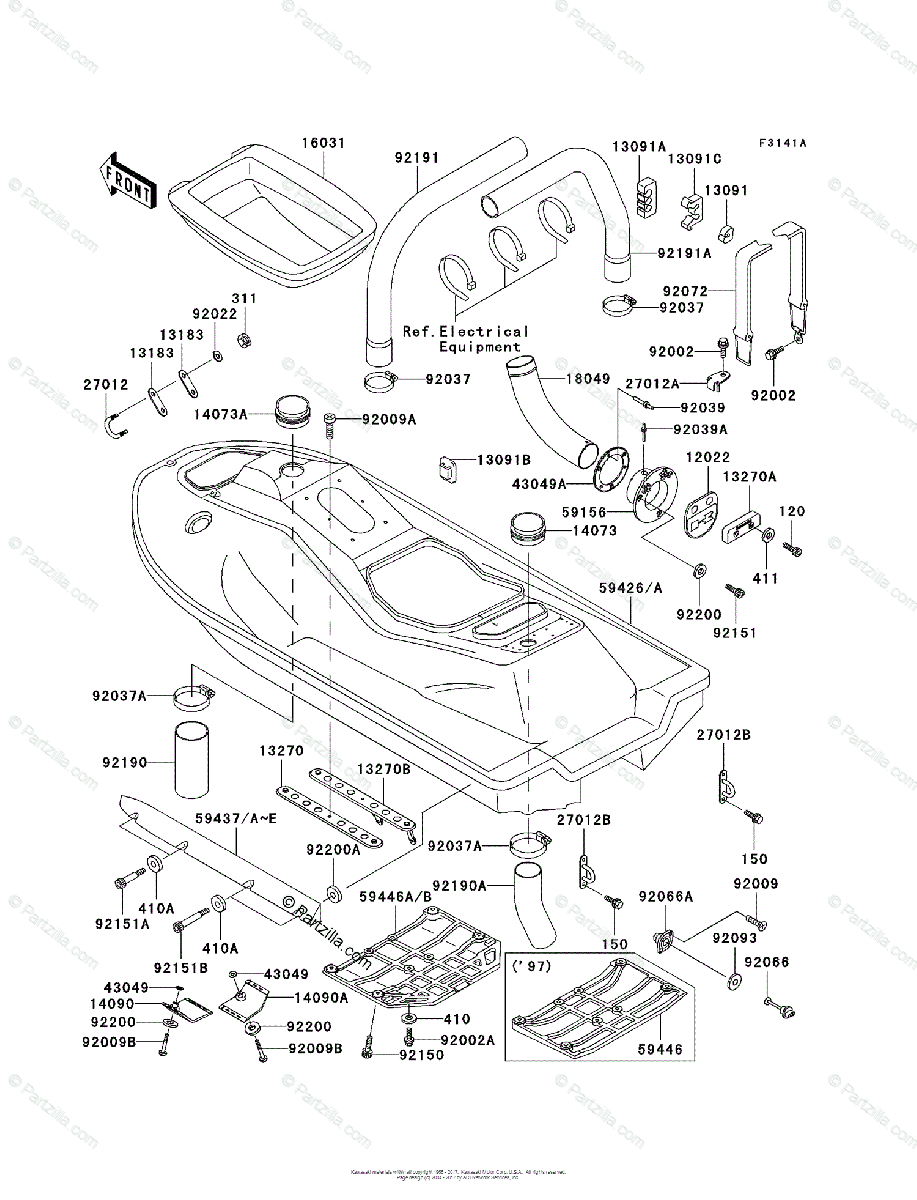 Kawasaki Jet Ski 1998 OEM Parts Diagram for HULL (JH1100