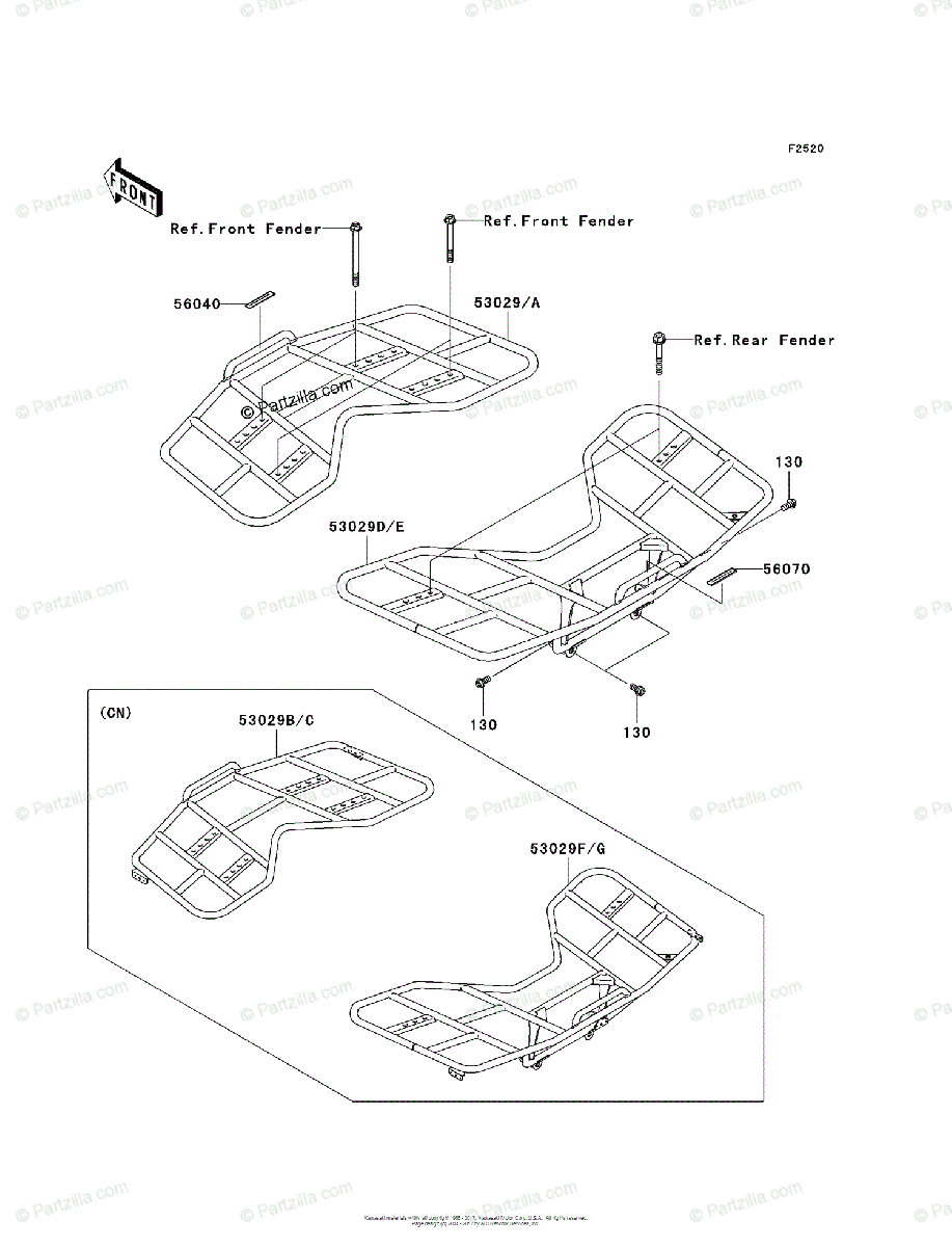 Kawasaki ATV 2004 OEM Parts Diagram for Carrier(s