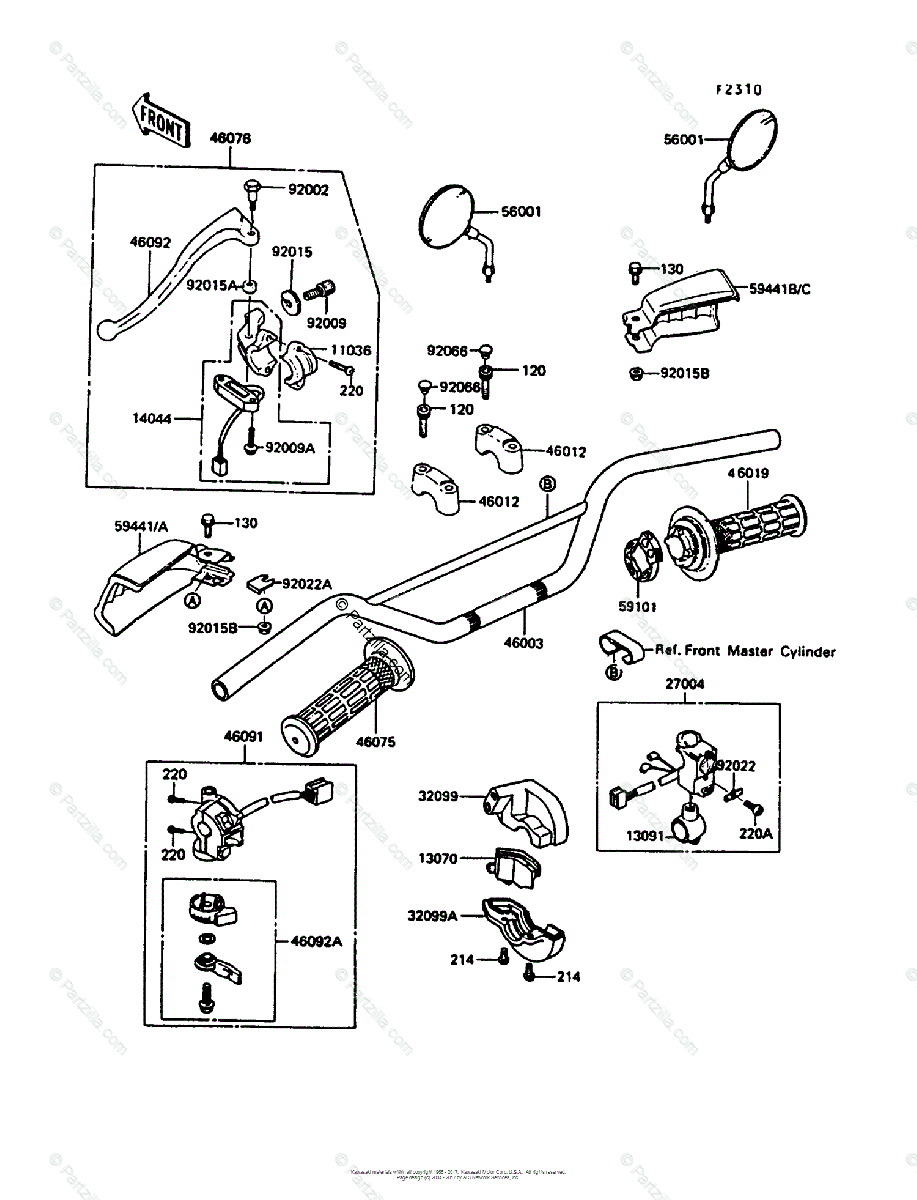 Kawasaki Motorcycle 1988 OEM Parts Diagram for Handlebar