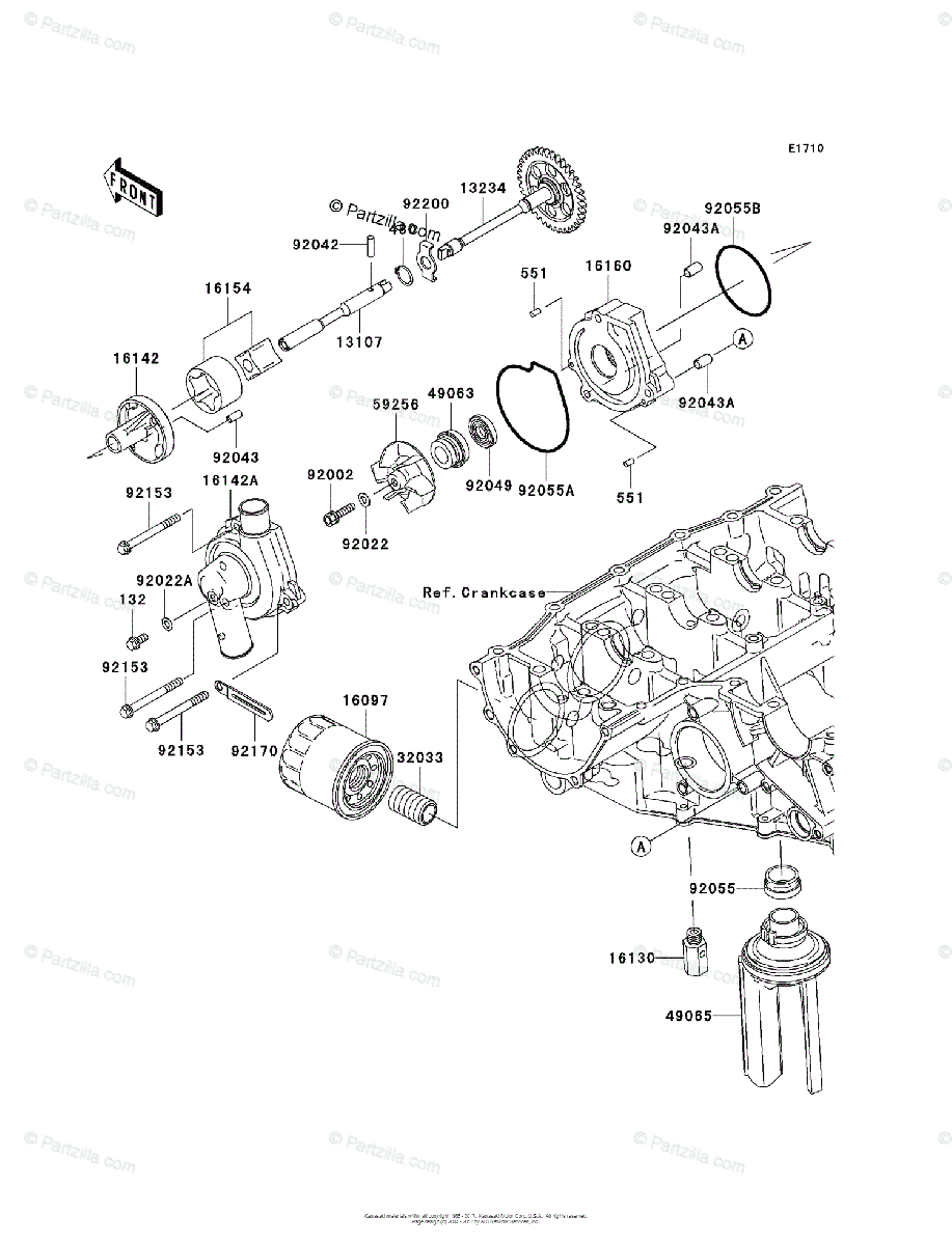 Kawasaki Motorcycle 2005 OEM Parts Diagram for Oil Pump