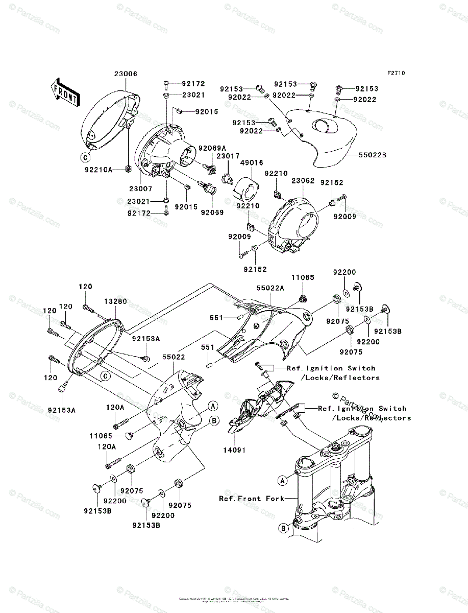 Kawasaki Motorcycle 2004 OEM Parts Diagram for Headlight(s