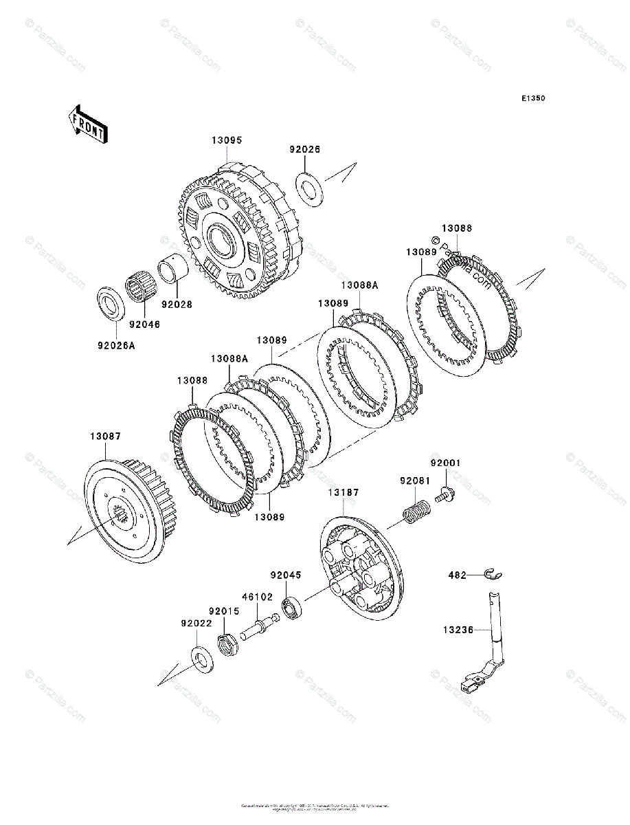Kawasaki Motorcycle 2008 OEM Parts Diagram for Clutch