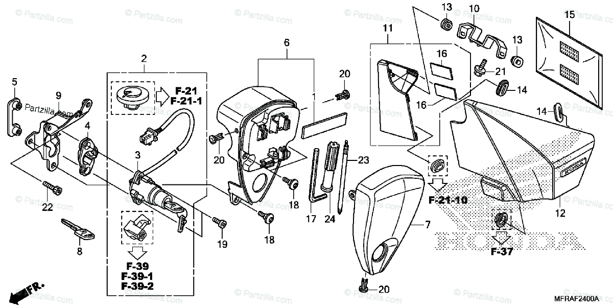 Honda Motorcycle 2013 OEM Parts Diagram for Side Cover