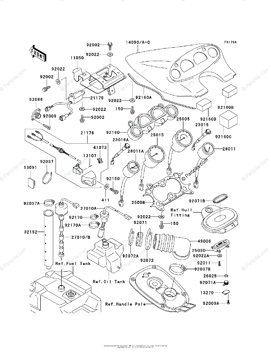 Kawasaki Jet Ski 1998 OEM Parts Diagram for METERS (JH1100