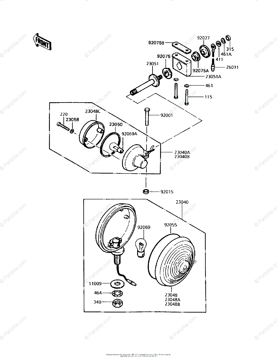 Kawasaki Motorcycle 1992 OEM Parts Diagram for Turn