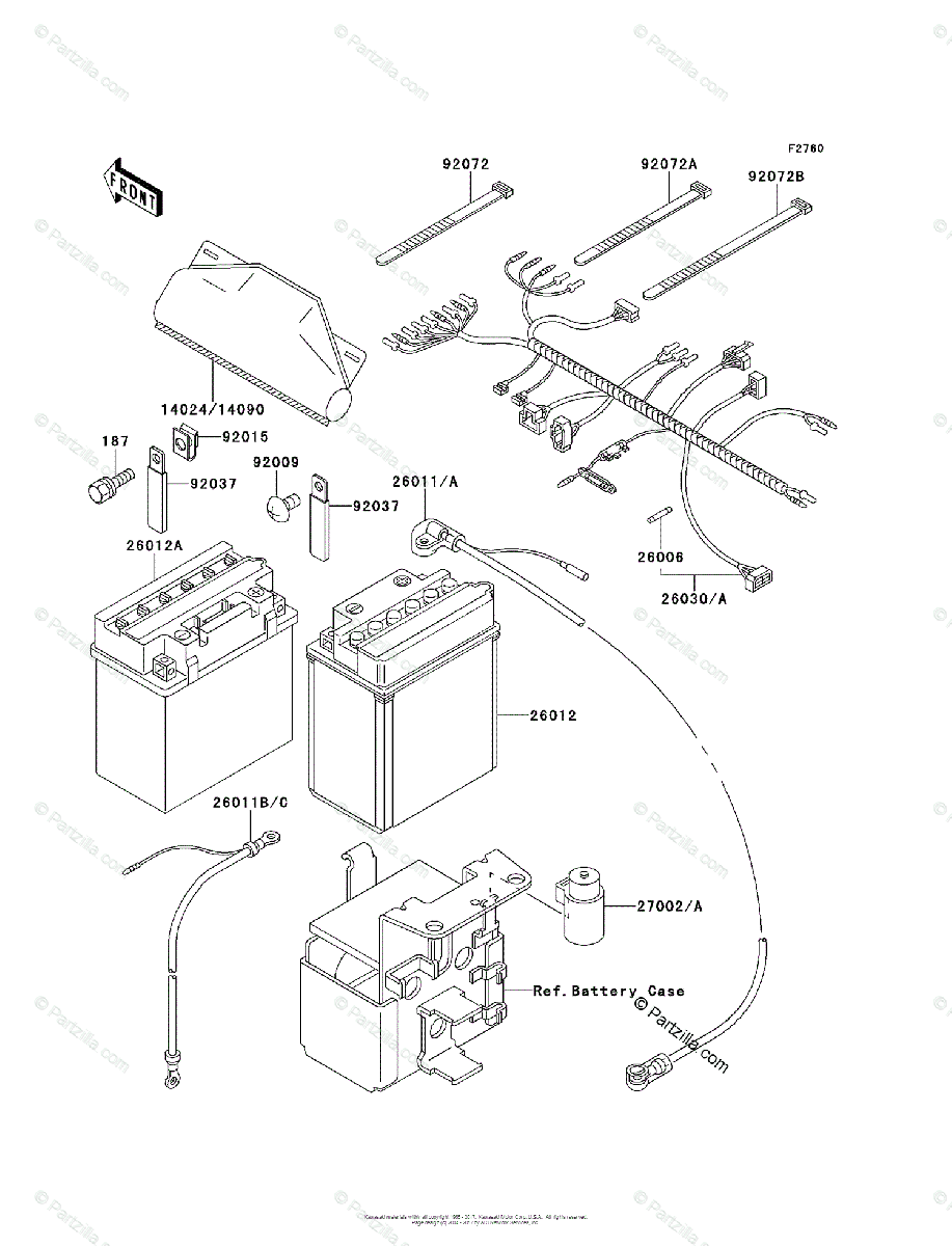 Kawasaki ATV 1995 OEM Parts Diagram for Chassis Electrical