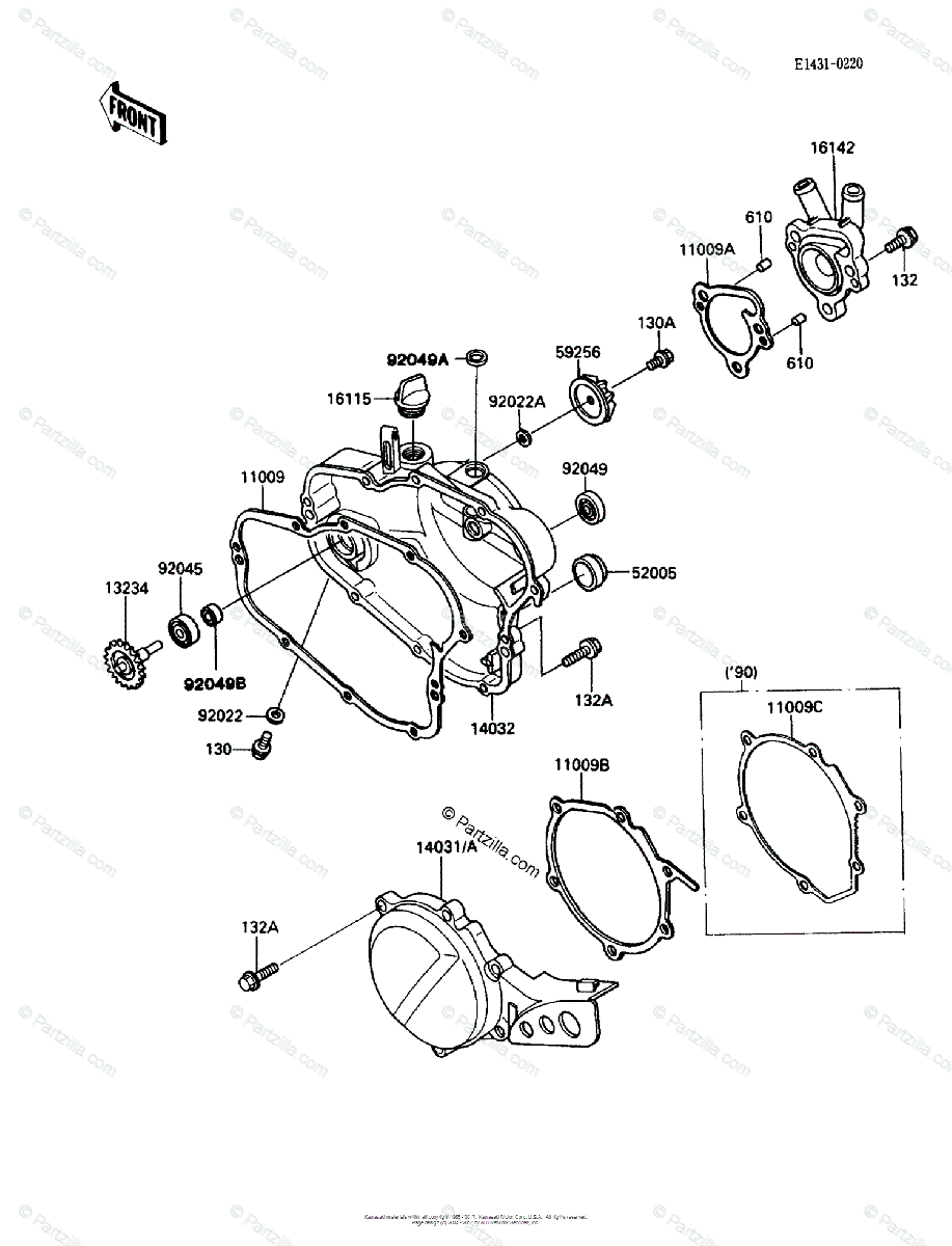 Kawasaki Motorcycle 1989 OEM Parts Diagram for Engine