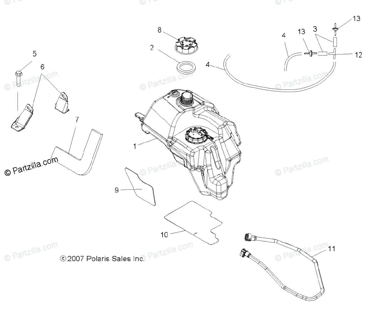 Polaris ATV 2008 OEM Parts Diagram for Body, Fuel Tank Asm