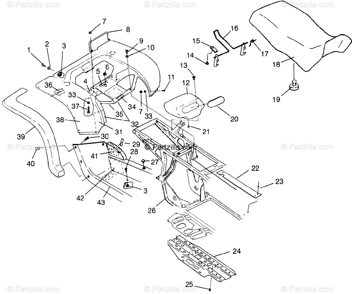 Polaris ATV 1996 OEM Parts Diagram for Rear Cab & Seat