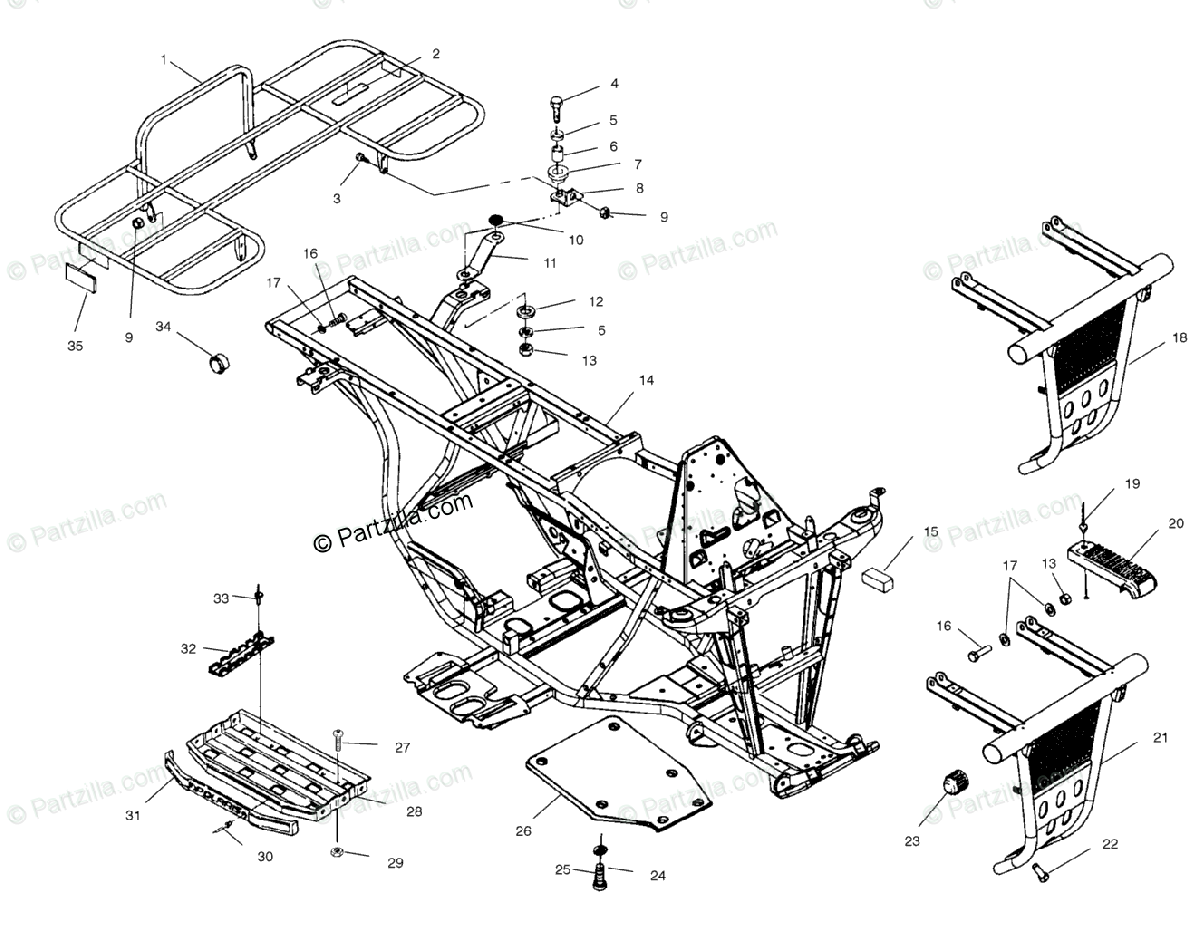 Polaris ATV 2001 OEM Parts Diagram for Bumper & Rack