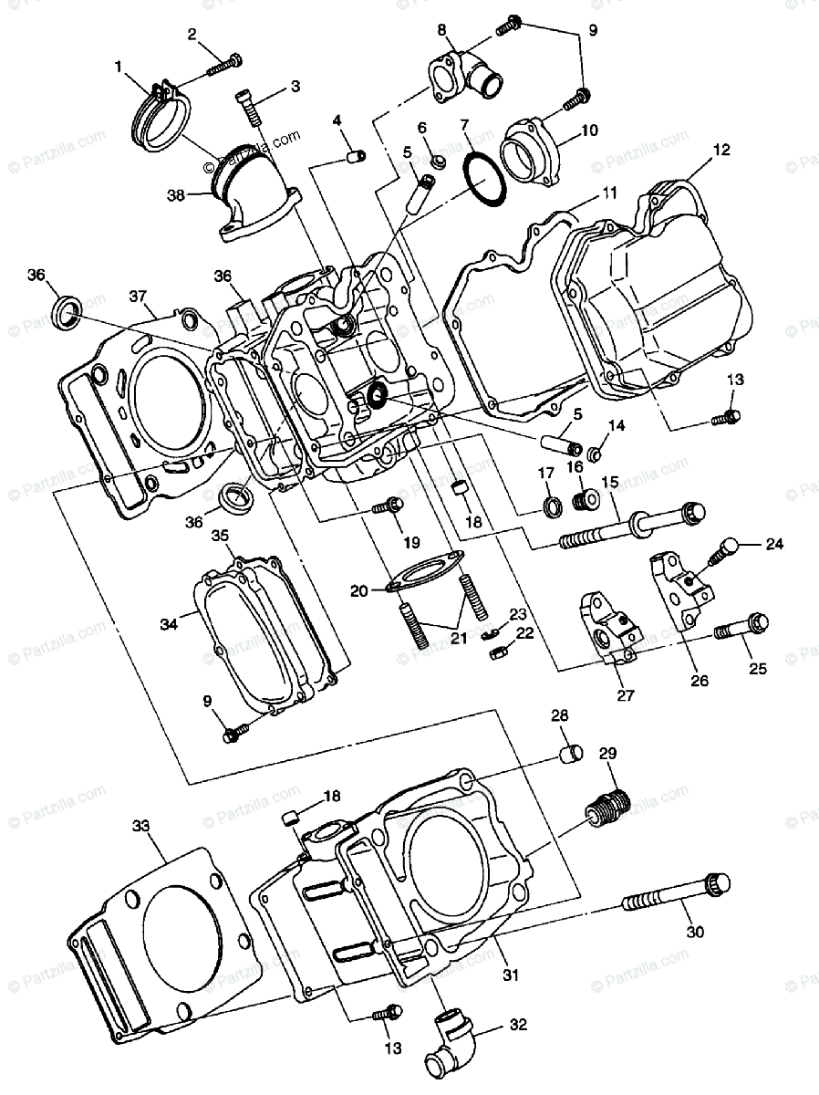 Polaris ATV 1998 OEM Parts Diagram for Cylinder S98ch50e