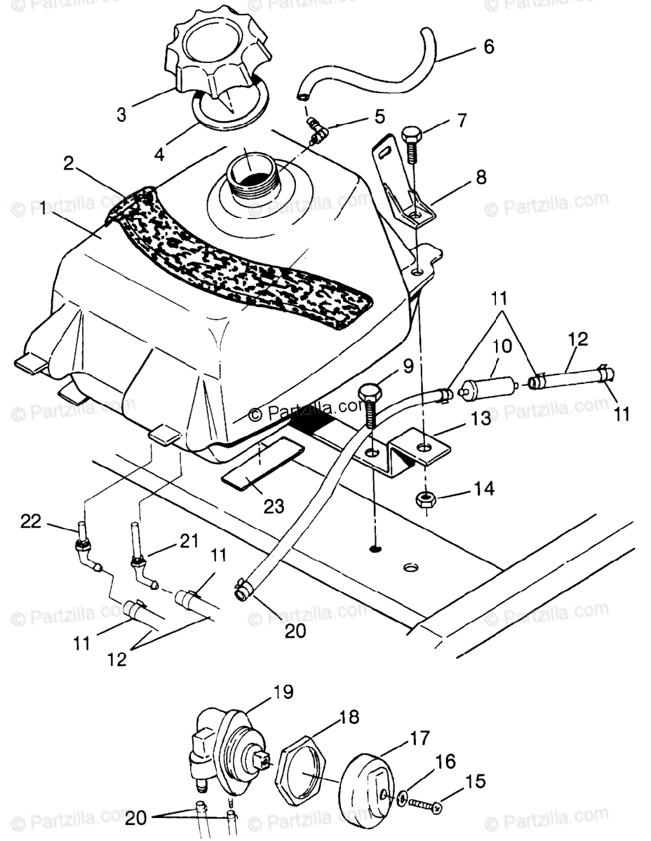 Polaris ATV 1996 OEM Parts Diagram for Fuel Tank Xplorer