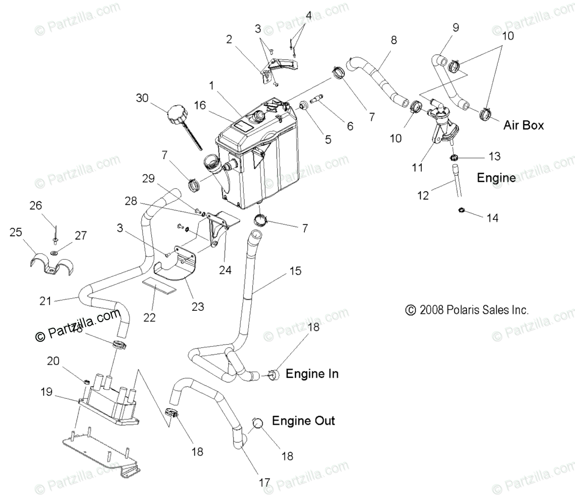 Polaris Snowmobile 2011 OEM Parts Diagram for Engine, Oil