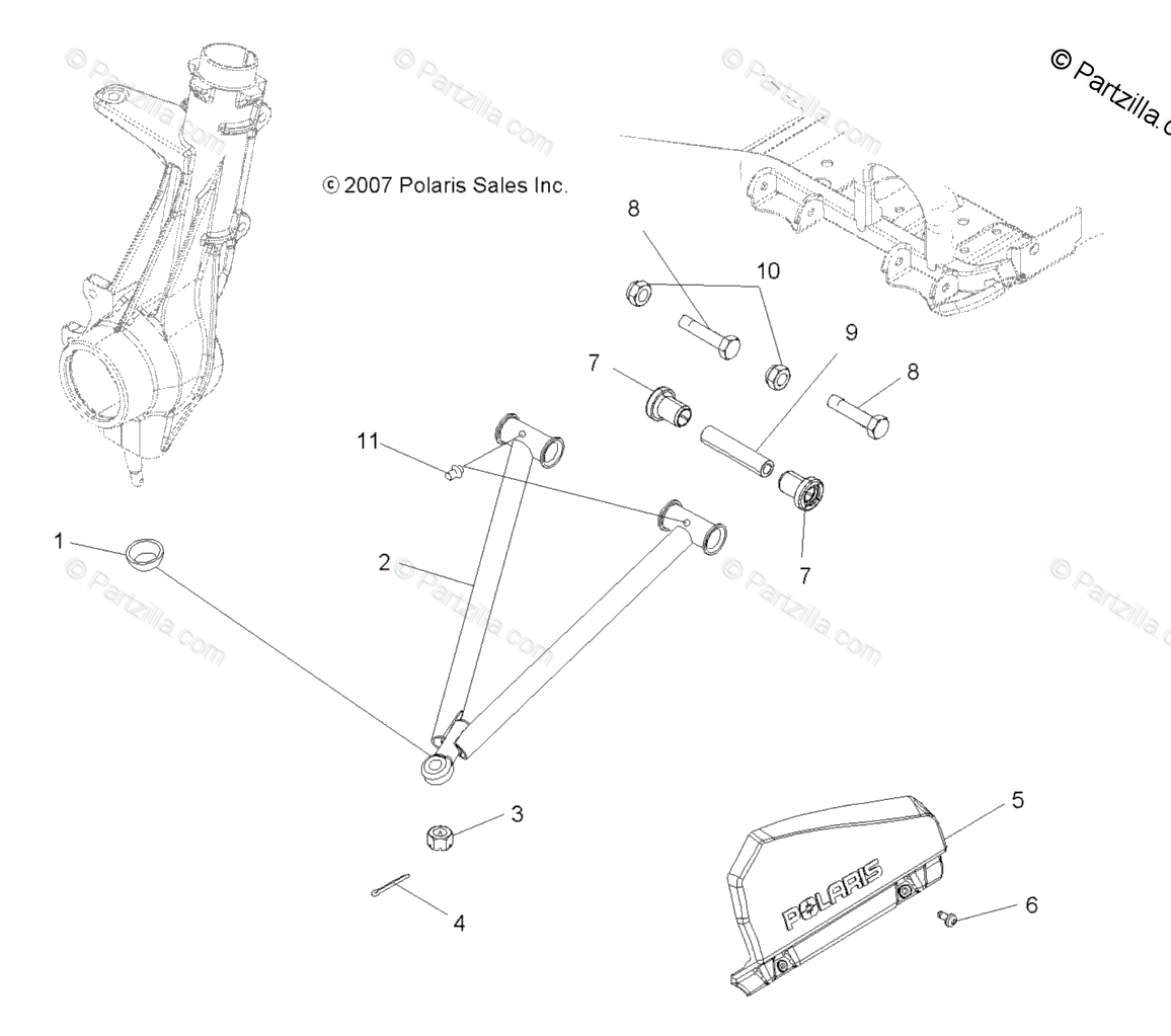 Polaris ATV 2008 OEM Parts Diagram for Suspension, Aarm