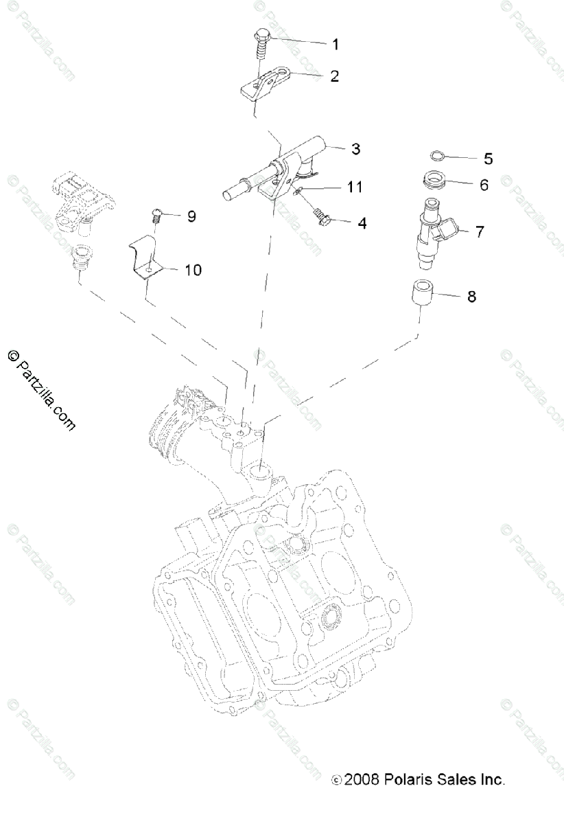 Polaris ATV 2009 OEM Parts Diagram for Engine, Fuel