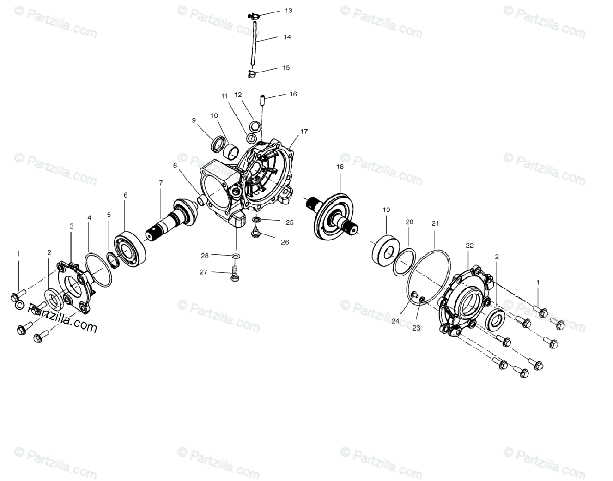 Polaris ATV 2001 OEM Parts Diagram for Front Housing
