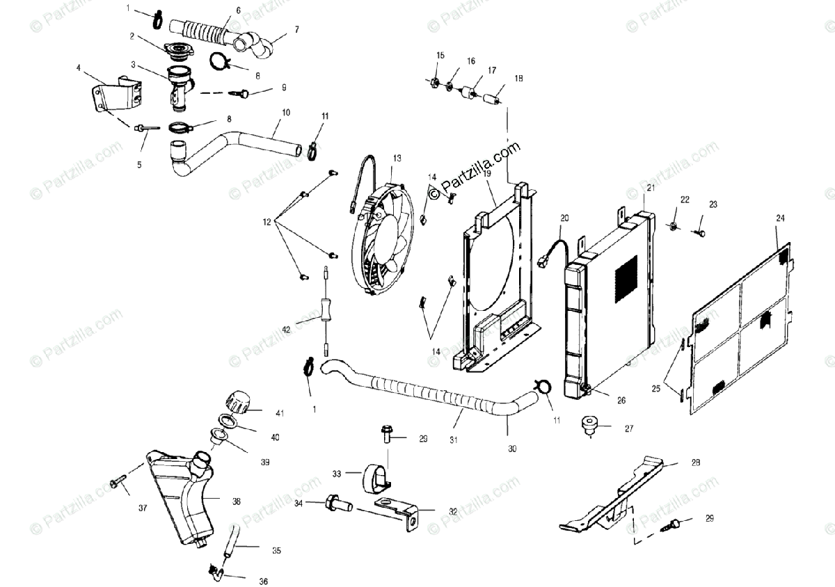 Polaris ATV 2000 OEM Parts Diagram for Cooling System