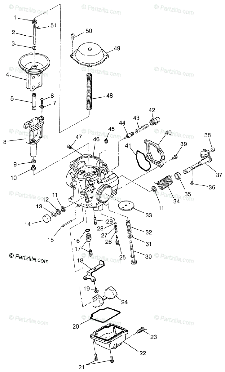 Polaris ATV 1997 OEM Parts Diagram for Carburetor Magnum