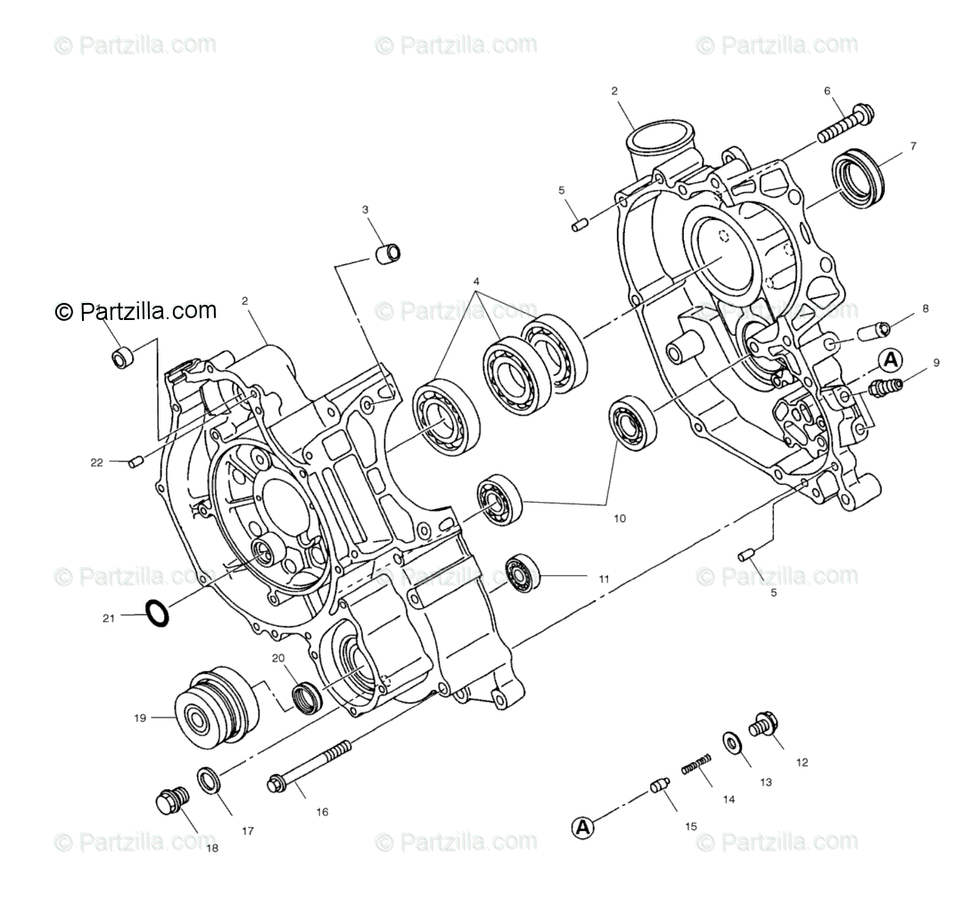Polaris ATV 2001 OEM Parts Diagram for Crankcase