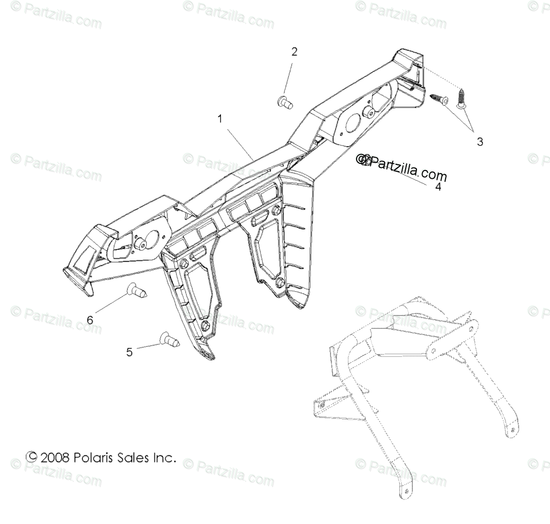 Polaris Side by Side 2009 OEM Parts Diagram for Body, Rear