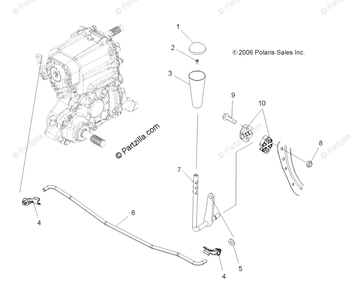 Polaris ATV 2007 OEM Parts Diagram for Gear Selector