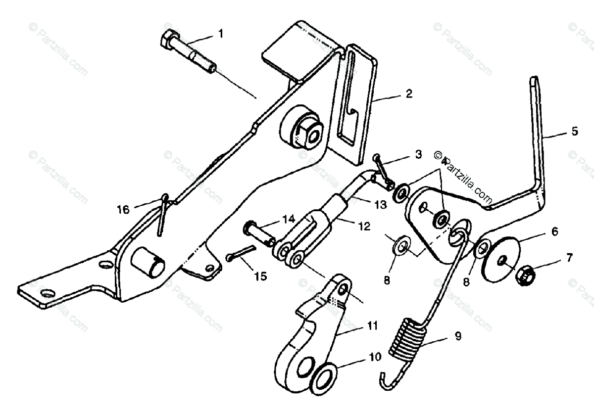 Polaris ATV 1998 OEM Parts Diagram for Foot Rake S98ch50e