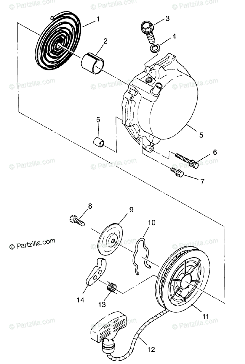 Polaris ATV 1996 OEM Parts Diagram for Recoil Starter