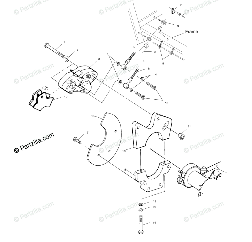 Polaris ATV 2001 OEM Parts Diagram for Rear Caliper