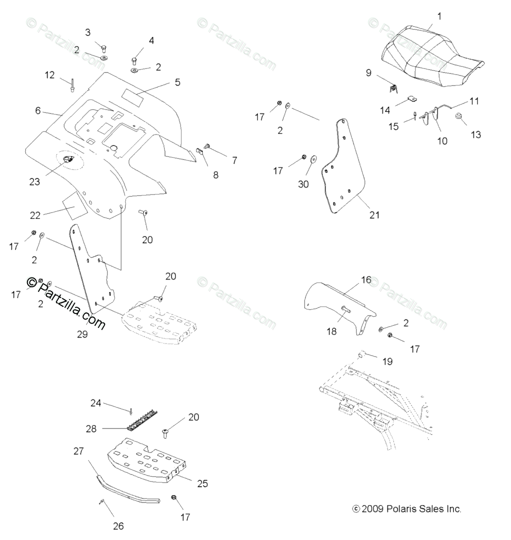 Polaris ATV 2009 OEM Parts Diagram for Body, Rear Cab