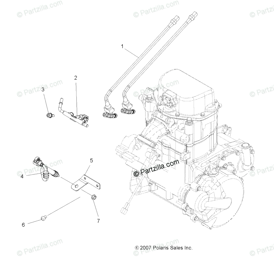Polaris Atv Oem Parts Diagram For Engine Fuel Injector