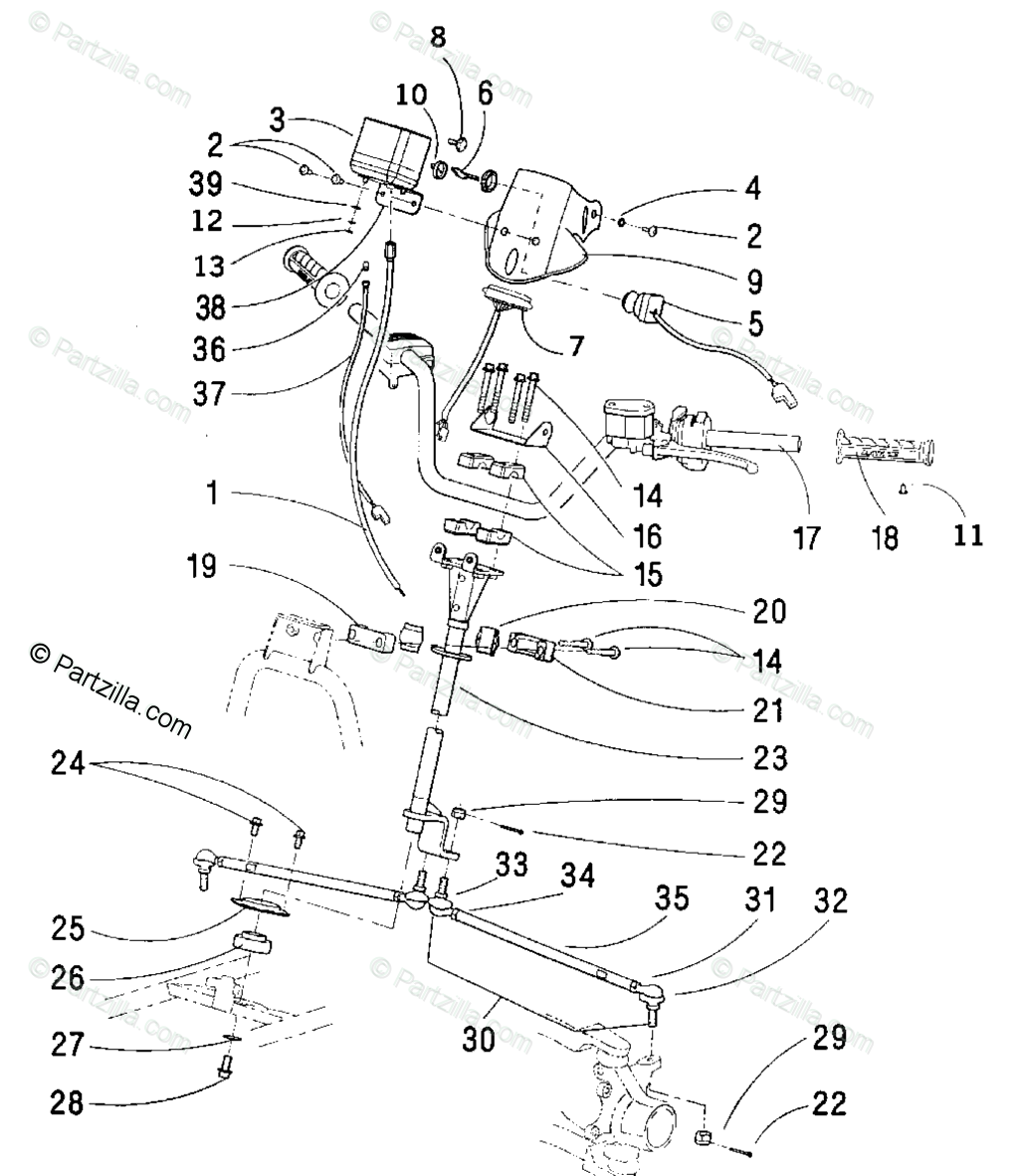 Arctic Cat ATV 2001 OEM Parts Diagram for Steering