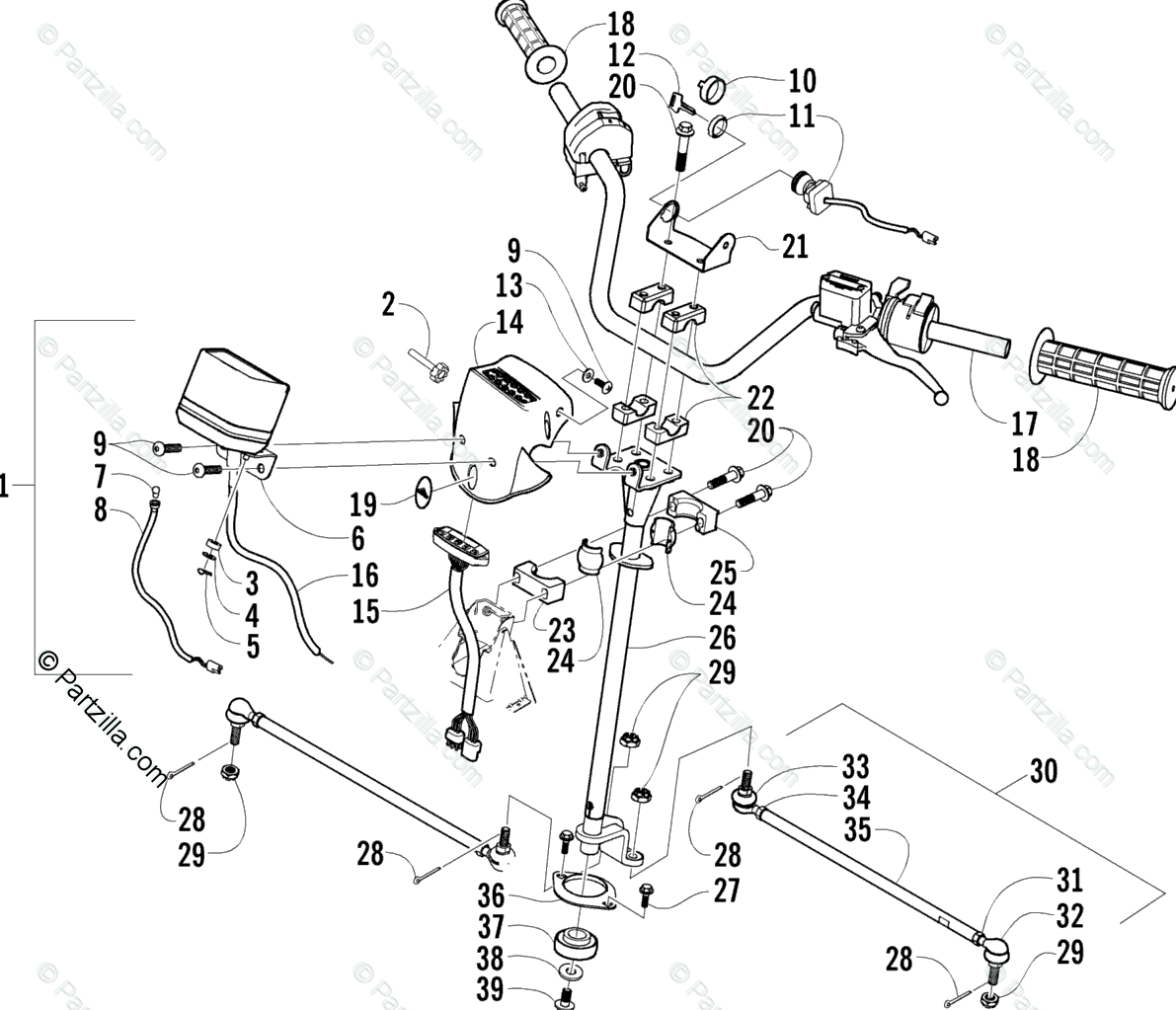 Arctic Cat ATV 2004 OEM Parts Diagram for Steering
