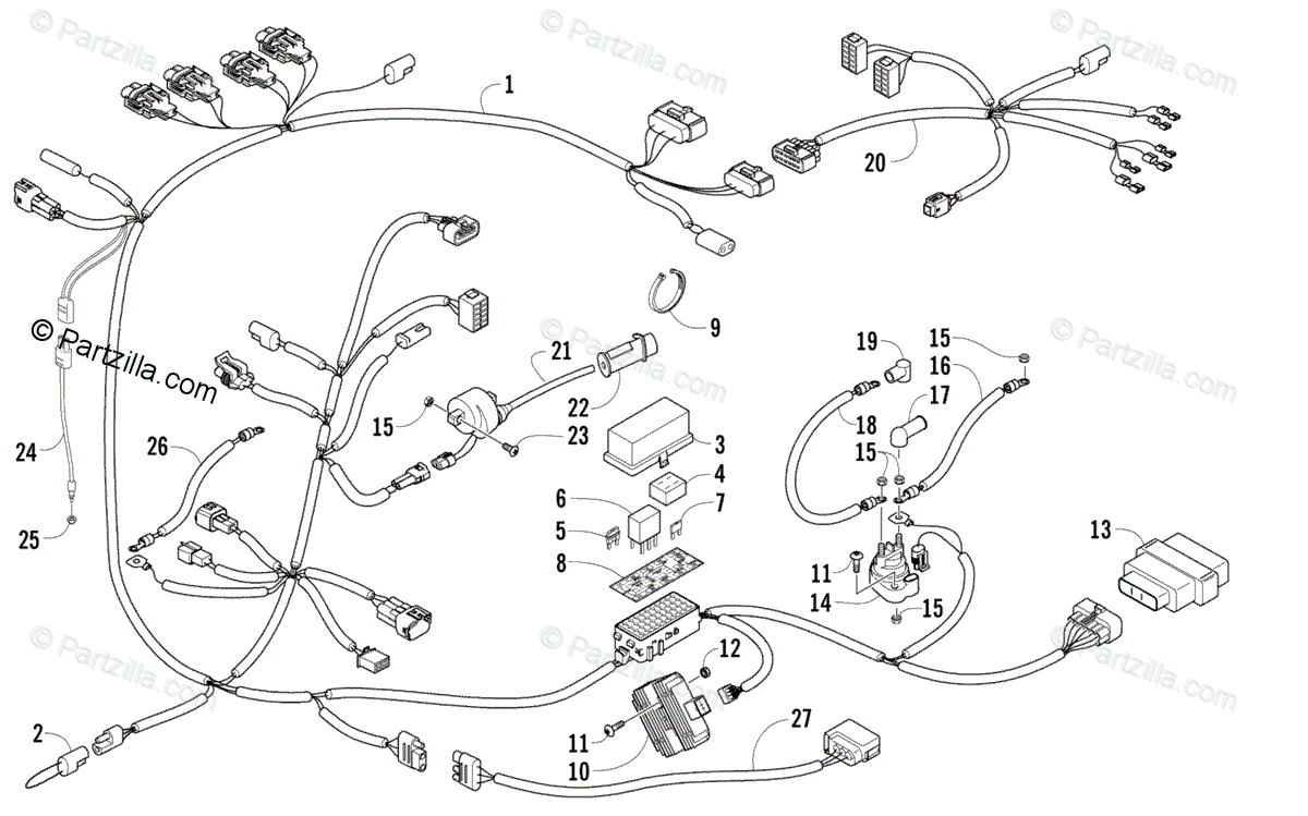 Arctic Cat Side by Side 2008 OEM Parts Diagram for Wiring