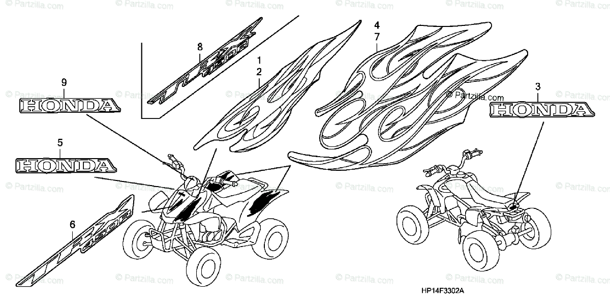 Honda ATV 2008 OEM Parts Diagram for MARKS ('07-3A,3CM,'08