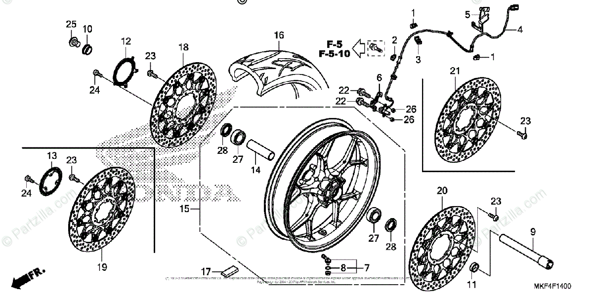 Honda Motorcycle 2017 OEM Parts Diagram for Front Wheel