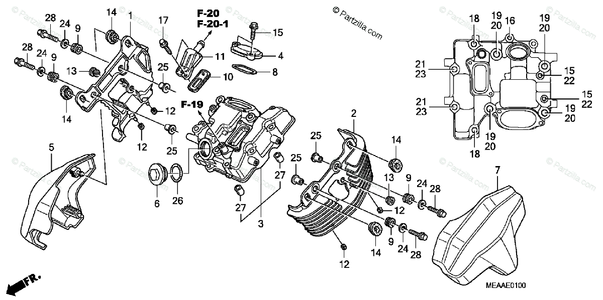 Honda Motorcycle 2009 OEM Parts Diagram for Front Cylinder