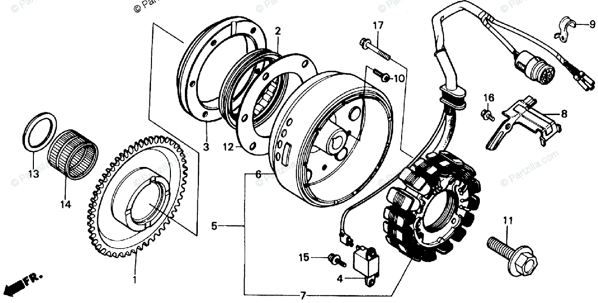 Honda ATV 1987 OEM Parts Diagram for Alternator