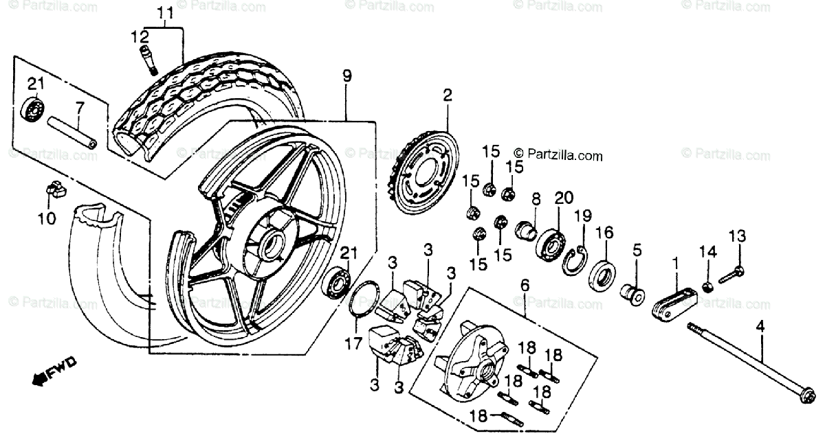 Honda Motorcycle 1986 OEM Parts Diagram for Rear Wheel