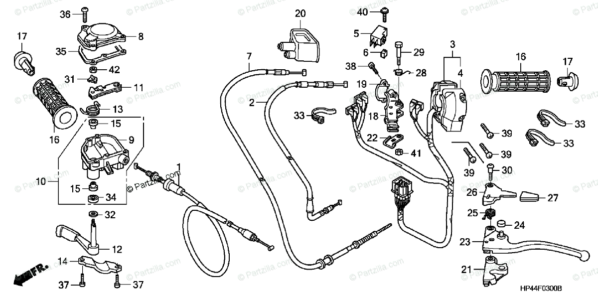 Honda ATV 2007 OEM Parts Diagram for Handle Lever / Switch