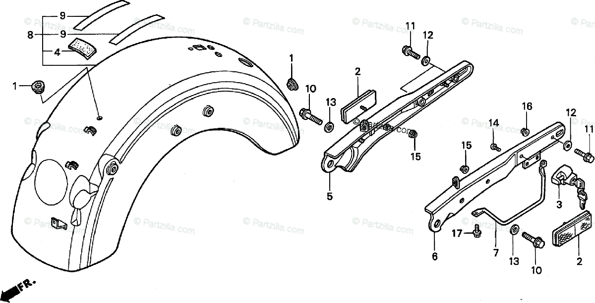 Honda Motorcycle 1998 OEM Parts Diagram for Rear Fender