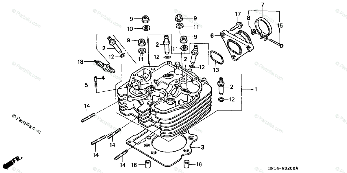 Honda ATV 2005 OEM Parts Diagram for Cylinder Head