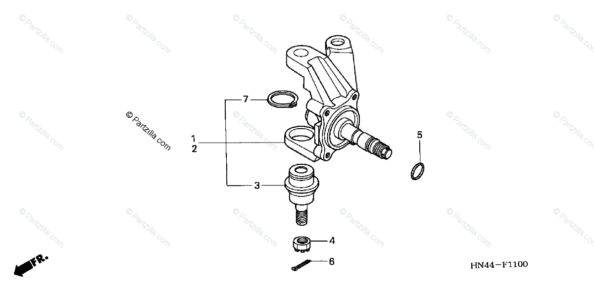 Honda ATV 2005 OEM Parts Diagram for Knuckle (2WD