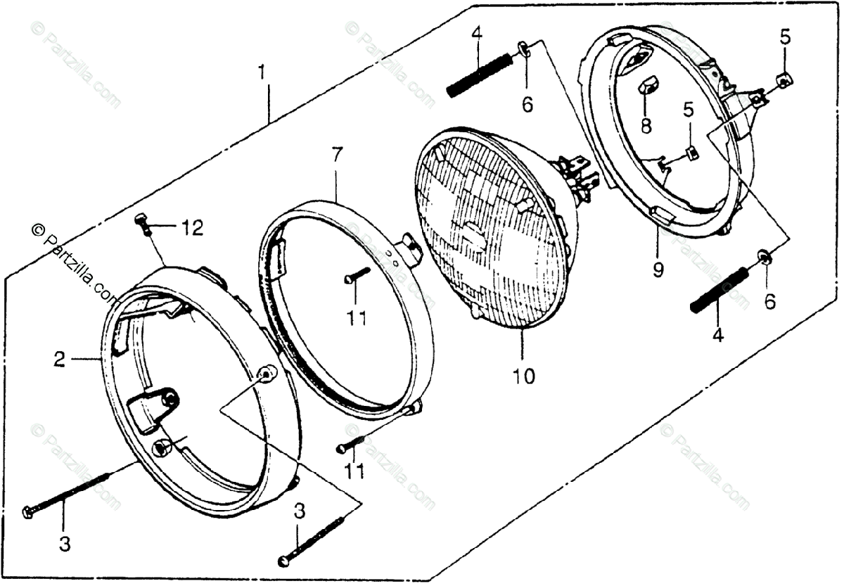 Honda Motorcycle 1978 OEM Parts Diagram for Headlight I