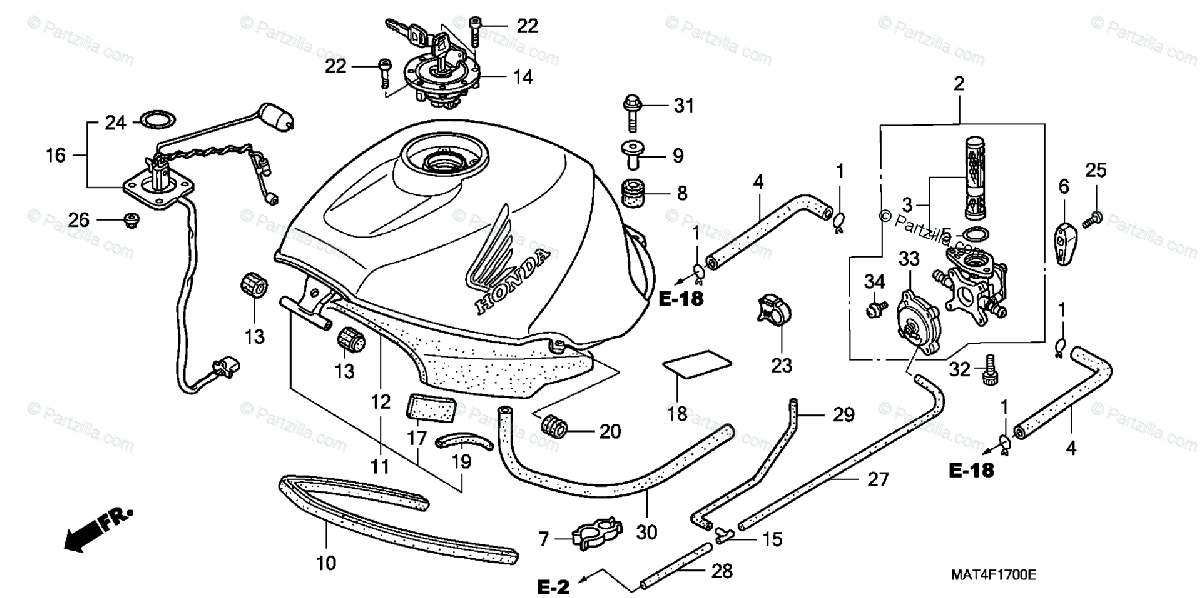 Honda Motorcycle 1997 OEM Parts Diagram for Fuel Tank