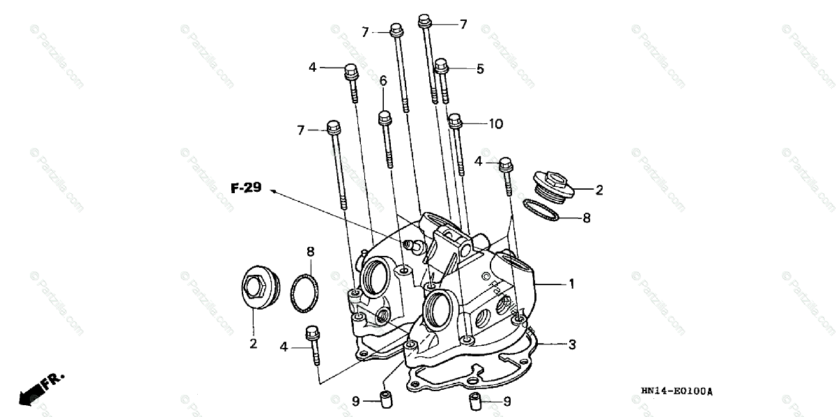 Honda ATV 2003 OEM Parts Diagram for CYLINDER HEAD COVER